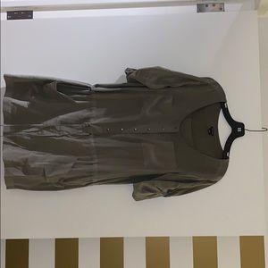 Army green Club Monaco dress with tie at waist.
